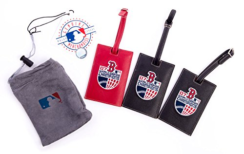 Boston Red Sox Leather Luggage Tags - Set of 3 - Sox Embroidered Leather