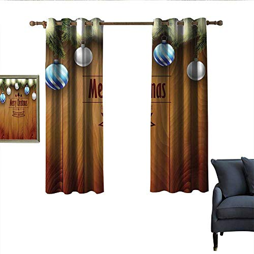longbuyer Christmas Thermal Curtains Wooden Setting with Silver Balls Fairy Tale Setting and Pine Tree Twigs Wishes Theme Privacy Protection 63