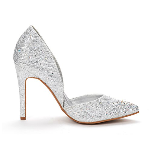 Heel Stiletto silver Shoes DREAM Crystal Oppointed Dress Women's Pump PAIRS Ywqp1O