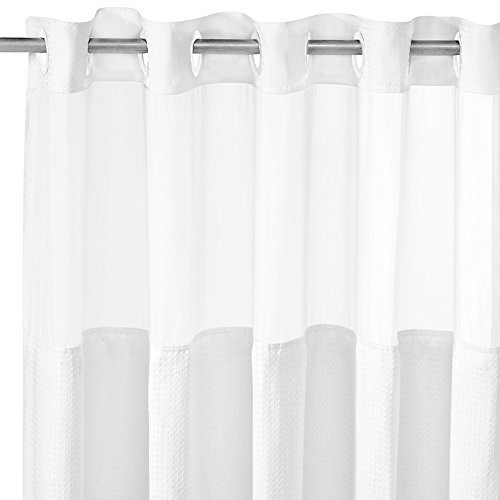Hookless Polyester 70 x 74 Inch Shower Curtain by COMFECTO | Light-Filtering Mesh Screen and Magnets | Premium Grade ABS Flex-On Rings | White | 352 (Shower Curtins)
