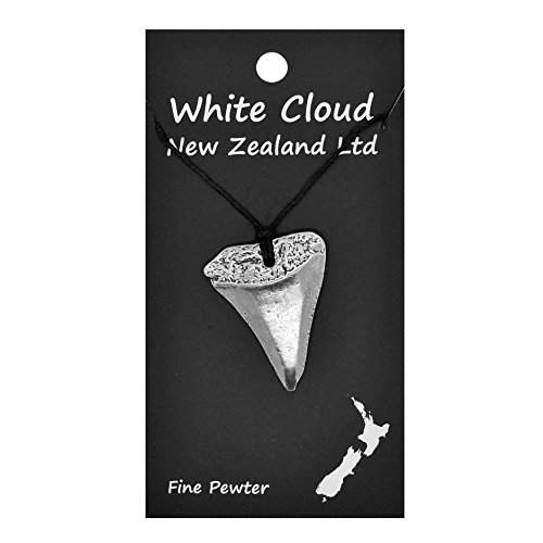 Handmade New Zealand Great White Shark Tooth Pewter Pendant on Waxed Cord (New Zealand Shark)