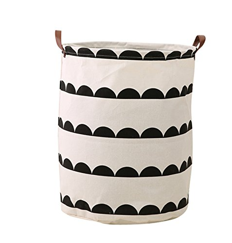FUNNYGO Large Storage Bin ,Ramie Cotton/ Canvas Fabric Folding Storage Basket With Handles- Toy Box/ Toy Storage/ Toy Organizer for Boys and Girls - Laundry Basket/ Nursery Hamper (circle (Fabric Large Circle)
