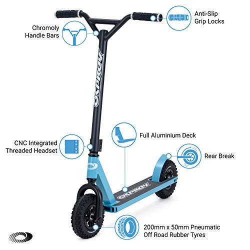 Osprey Dirt Scooter with Off Road All Terrain Chunky Tyres - Sky Blue