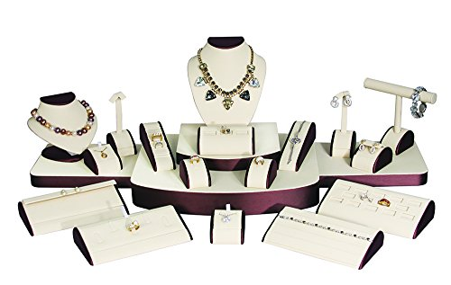 (21-Pc Set) Deluxe Beige/Brown Faux Leather Jewelry Display (Set60-L30), 37'' x 18'' x 11 5/8'' H by EDS BOX JEWELRY SUPPLY