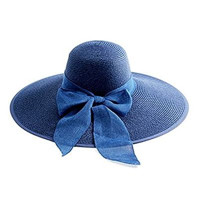 Kentop Chapeau de Paille Femme Chapeau de Paille Femme Plage Anti-UV Bord Large Pliable Chapeau De Soleil pour été Loisir Voyage Chapeau d'arc mignon élégant Chapeau 1PCS