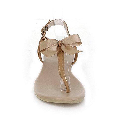 AalarDom Mujer Hebilla Puntera Dividida Mini Tacón Pu Sólido Sandalias de vestir Albaricoque