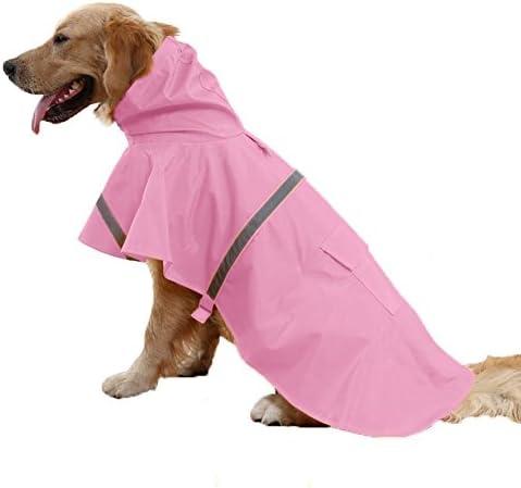 ALANSNOW 調整可能、水防止レーンコートは安全反射ストリップを含み、大型犬にも、小型犬にも最適です(ピンク) (XL 胸囲:88-92cm, 背:60cm)