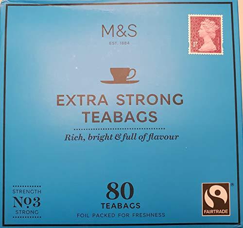 Marks and Spencer UK. Extra Strong Range Teabags 80 Bags. (1 Pack) (Best Tasting Tea Bags Uk)