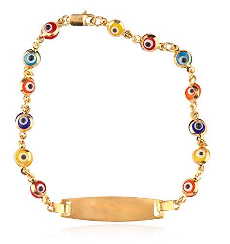 14k Gold 6 Inch Multicolor Evil Eye ID Link Chain Bracelet by JOTW