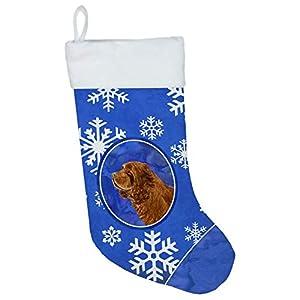 Caroline's Treasures SS4648-CS Sussex Spaniel Winter Snowflakes Christmas Stocking SS4648, Multicolor 46