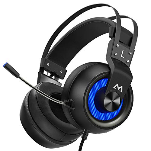 Mpow EG3 Pro Gaming Headset (2019 All-Platform Edition), with Mic, 50mm Speaker Drivers, 3D Surround Sound, in-Line Control, LED Light, PC PS4 Headset, Nintendo Switch 64 Xbox 3.5mm Gaming Headphones