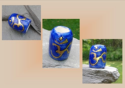 Large Hole Dreadlock Bead, Gold OHM Dread Bead, Hair Accessories, Cobalt Blue Bead, Ceramic Pottery Beads, Handmade Clay Beads (Handmade Dread Beads)