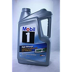 Mobil 1 High Mileage Advanced Full Synthetic 10W-30 Motor Oil 5 Quart - Jug