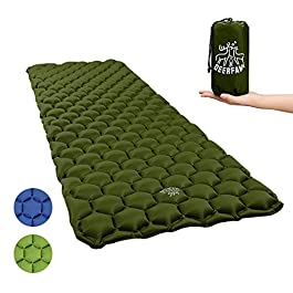 DEERFAMY Sleeping Pad for Camping, Inflating Sleeping Pad, Air Inflatable Backpacking Camping Pad Sleeping Mat…