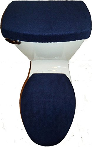 NAVY BLUE Fleece Fabric Toilet Seat Cover Set Bathroom Accessories