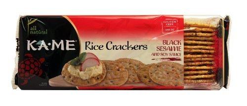 Kame Sesame Crackers - Rice Cracker; Black Sesame , Pack of 3