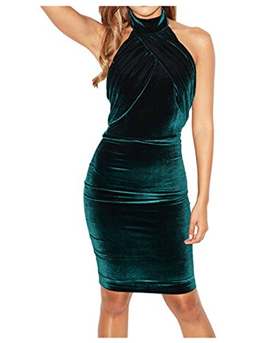 Whoinshop Damen Bodycon Kleid Neckholder Cocktailkleid Figurbetontes ...