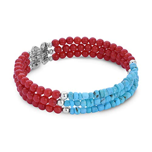 terling Silver Blue Turquoise & Red Coral Three Strand Cuff Bracelet - Average ()