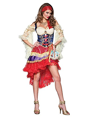 Tarot Card Gypsy Costumes (InCharacter Costumes Good Fortune Gypsy Costume, Red/Tan/Blue, Small)