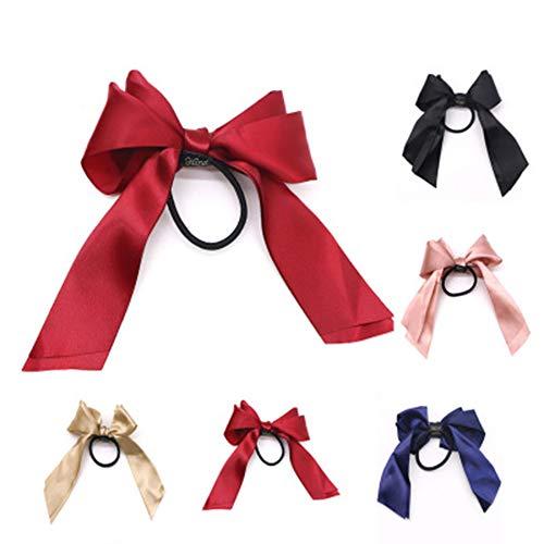 CN Girl Satin Hair Bow Ribbon Hair Rubber Bands Scrunchy Elastic Hair Scrunchies Bobbles Ties Ponytail Holder for Women Girls Kids (Ribbon Rubberbands)