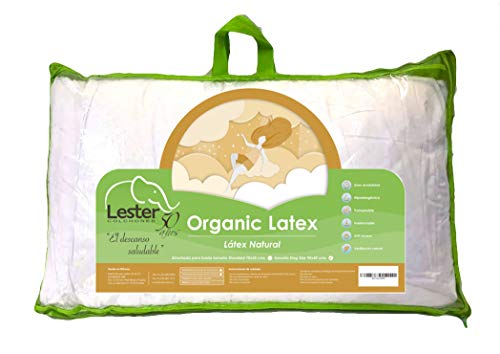 Almohada de Látex Orgánico 100% Organic Latex Foam Pillow Espuma Natural - Ortopédica Cervical para Cuello - Tamaño...