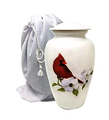 LiveUrns Cremation Urn for Adult Ashes – Cardinal Bird Cremation Urns for Human Ashes – Large Metal Hand Painted Burial and Funeral Cremation Urn, Memorial Urn for Human Ashes – Red Solid Metal Urn