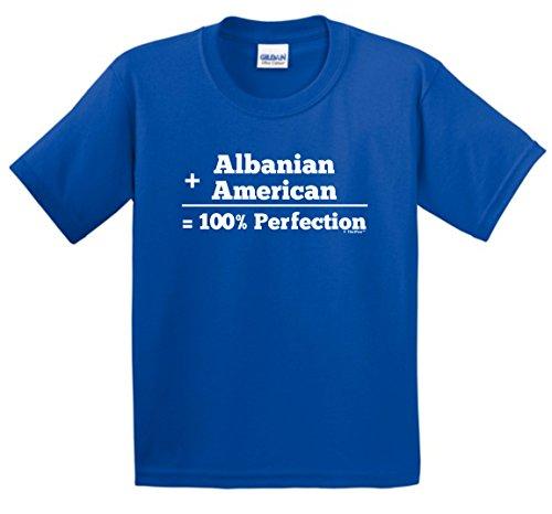 Albanian Flag Albanian American 100% Perfection Youth T-Shirt Small Royal