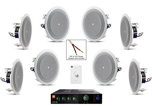 JBL 8128 In-Ceiling Loudspeaker Bundle with JBL CSMA 180 Mixer Amplifier and Accessories - Restaurant Sound System (35 Items) by JBL Professional