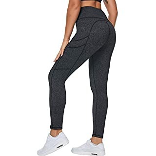 Loovoo Leggings with Pockets for Women High Waisted Yoga Pants for Women with Pockets Tummy Control Workout Leggings Charcoal Gray S