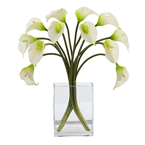 - Nearly Natural 1608-WH Calla Lily Artificial Vase Silk Arrangements, White