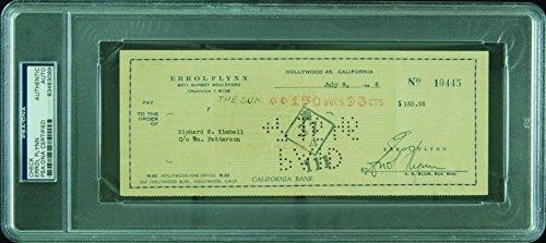 Errol Flynn Signed Check (1946) (PSA/DNA)