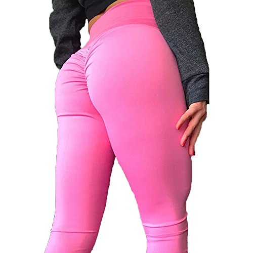 FITTOO Women's High Waisted Bottom Scrunch Leggings Ruched Yoga Pants Push up Butt Lift Stretchy Trousers Workout Rose Red S - Scrunch Leggings