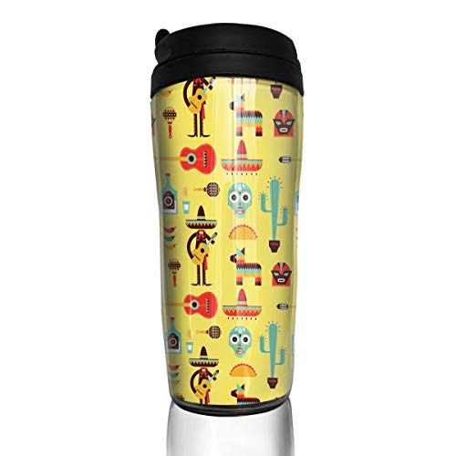 Wodehous Adonis Mexico Sugar Skull Play Guitar Modern Insulated Traveler Coffee Mug Tumbler Coffee Cup 12 Ounce