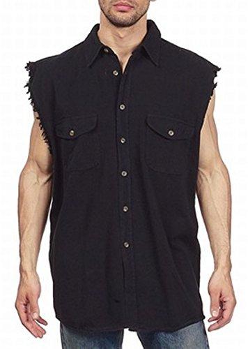 CD D C Mens Cut Off Sleeveless Denim Button up Biker Shirt Black X-Large