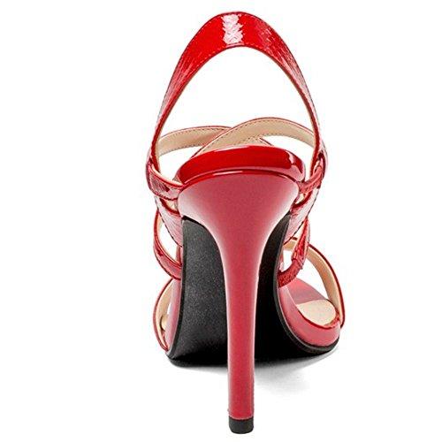 Femmes Croisée Sandales à Slingback Talon TAOFFEN Red Aiguille Sangle Chaussures 1B7HWC