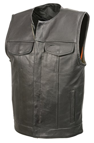 - Men's Leather Club Style Vest | Premium Natural Buffalo Leather | Patch Access Lining | Concealed Gun Pocket, Collarless Biker Vest (Black, L)