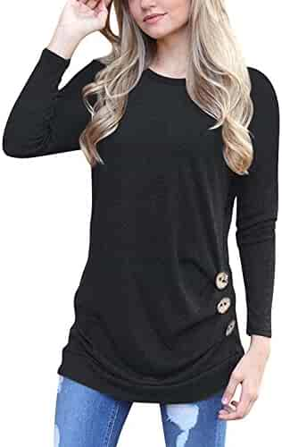 MOLERANI Women's Casual Long Sleeve Round Neck Loose Tunic T Shirt Blouse Tops
