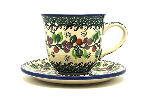 (Polish Pottery Cup & Saucer - Burgundy Berry)