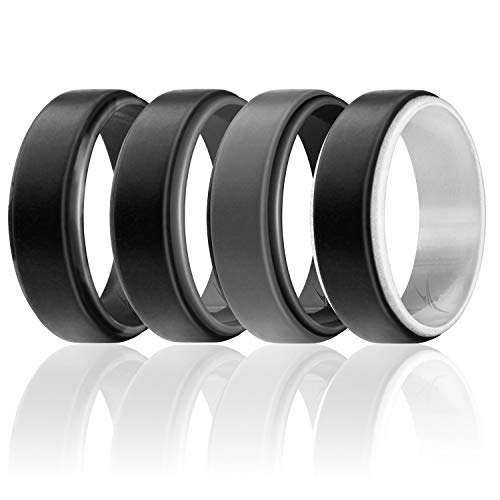 ROQ Silicone Wedding Ring for Men - Duo Collection Step Style - 4 Pack Silicone Rubber Wedding Bands - Classic Design - Grey, Black, Silver, Black Camo Colors - Size 12 (Camouflage Wedding Rings For Him And Her)