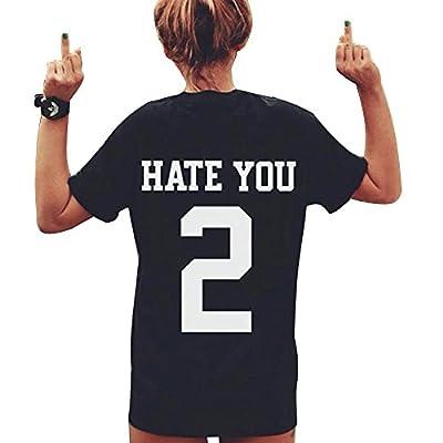 Cocobla Funny Tshirt Womens Hate You 2 Back Print Loose Short Sleeve T-shirt