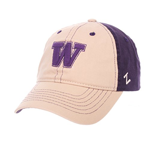 - ZHATS NCAA Washington Huskies Men's The Dean Relaxed Cap, Adjustable, Stone/Team Color