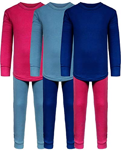 SNOOzZZ'N Girls Long Underwear Cotton Stretch Base Layer Sets/Long Sleeve Top - Long Tights - 6 Piece Mix & Match / 3 Sets (3 Sets -Pink/Blue/ Niagra, 2T/3T) (2t Thermal Underwear)