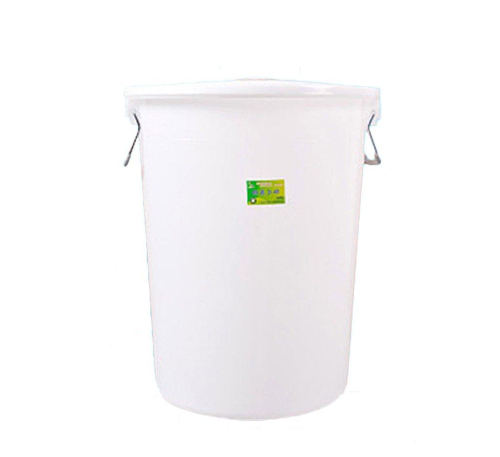 TGG 衛生ゴミ箱、大きなプラスチック円形ゴミ箱ホテルキッチン産業特性大容量覆われた厚い貯蔵バケツ100L 清潔できちんと (色 : 白) B07DK9HKDS 11299  白