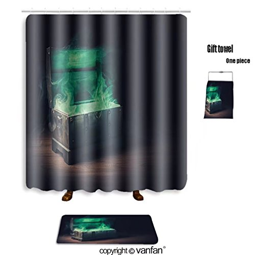 vanfan bath sets Polyester rugs shower curtain open pandora s box green smoke on a wood shower curtains sets bathroom 36 x 78 inches&23.6 x 15.7 inches(Free 1 towel 12 hooks) by vanfan (Image #6)