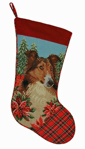 Festive Sheltie Dog Needlepoint Christmas Stocking by 123 Creations