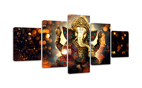 AMEMNY Canvas Painting Wall Art Home Decor for Living Room HD Prints 5 Pieces Elephant Trunk God Modular Poster Ganesha Pictures Wooden Bar Frame Ready to Hang