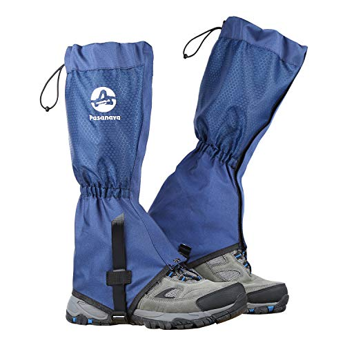 Pasanava Leg Gaiters Waterproof and Adjustable Walking Snow Boot Gaiters with TPU Foot Strap for Hiking,Backpacking and Outdoor for Man and Woman (Blue)