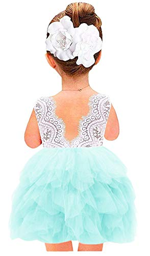 2Bunnies Girl Beaded Peony Lace Back A-Line Tiered Tutu Tulle Flower Girl Dress (Mint Green Sleeveless, 4T) -