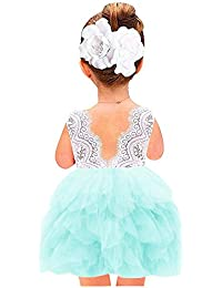 Girl Beaded Backless Peony Lace Back A-Line Tutu Tulle...