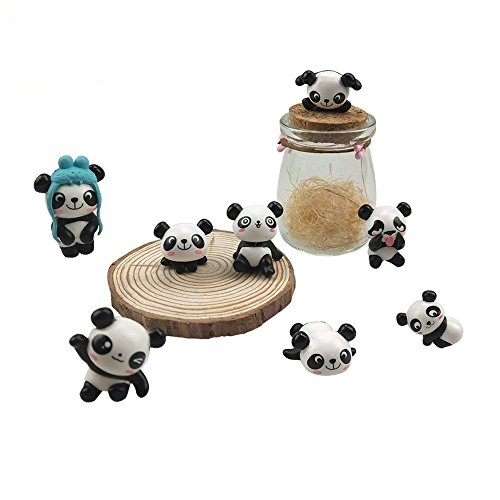 CSPRING 8 Poses Cute Mini Panda Bear Figures Fairy Garden Figurines